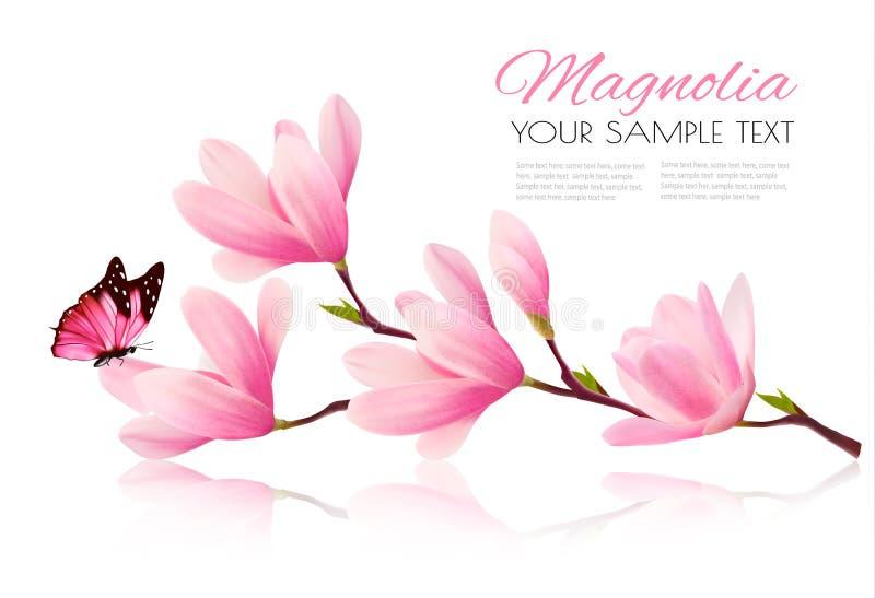 Bloemachtergrond met bloesemtak van roze magnolia vector illustratie
