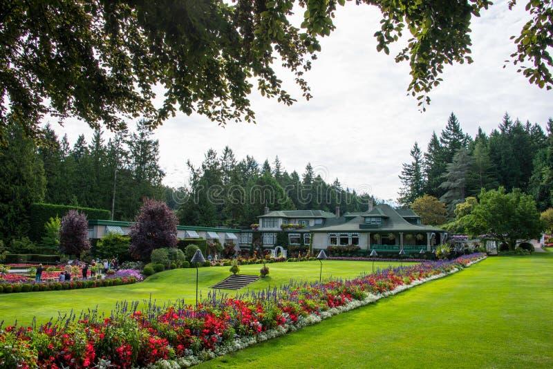 Bloembedden, Butchart-Tuinen, Victoria, Canada royalty-vrije stock afbeeldingen