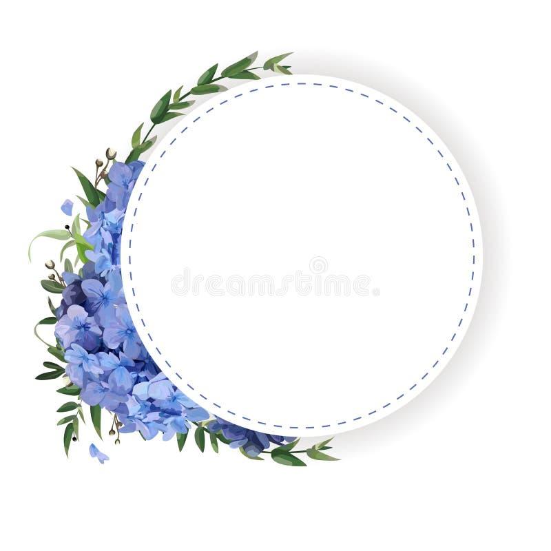 Bloemcirkel, ronde, kroonkroon van blauwe hydrangea hortensia vector illustratie