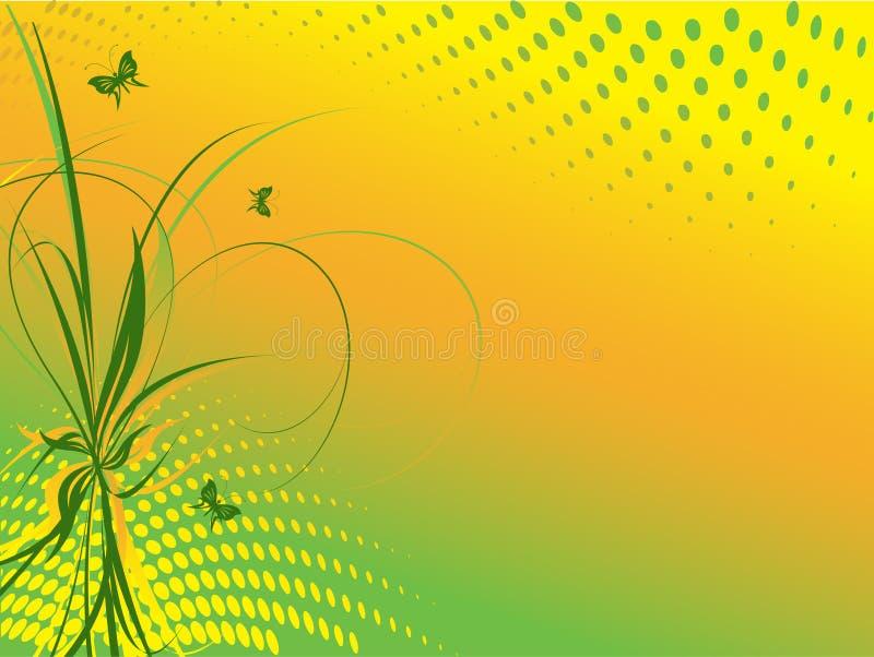 Bloemen abstracte achtergrond met vlinders royalty-vrije stock afbeeldingen