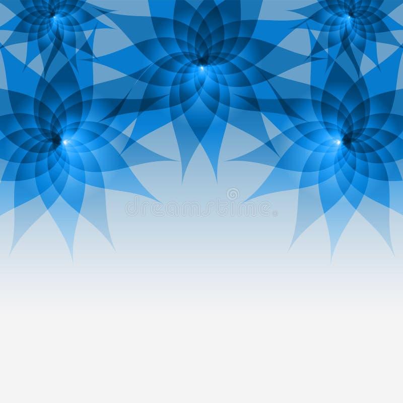 Bloemen abstracte blauwe achtergrond met bloemen stock illustratie