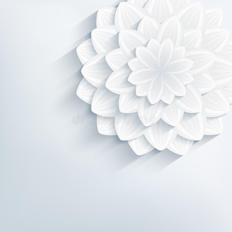 Bloemen abstracte grijze achtergrond met 3d bloem stock illustratie