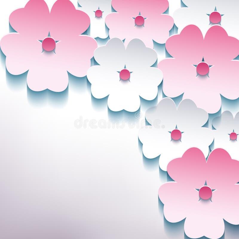 Bloemen abstracte modieuze achtergrond met 3d bloem  stock illustratie