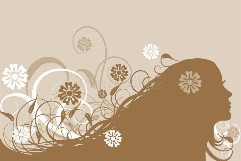 Bloemen abstracte vrouw, vector stock illustratie