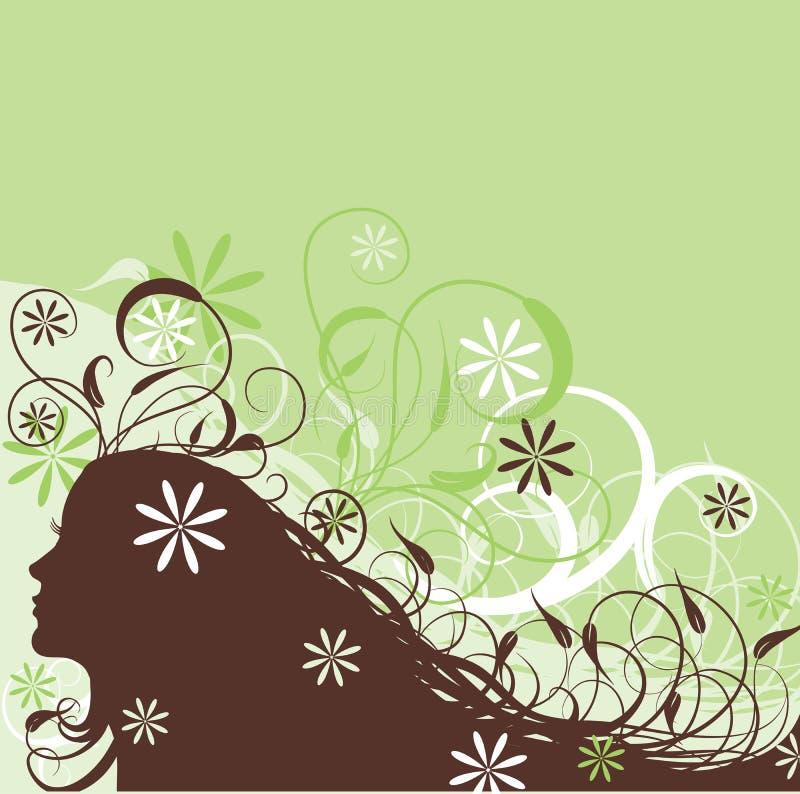 Bloemen abstracte vrouw, vector vector illustratie