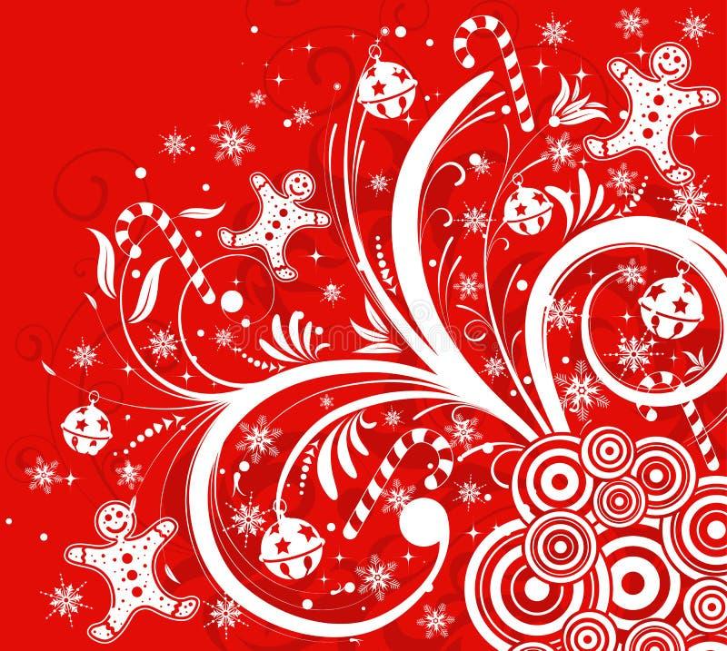 Bloemen achtergrond & sneeuwvlok vector illustratie