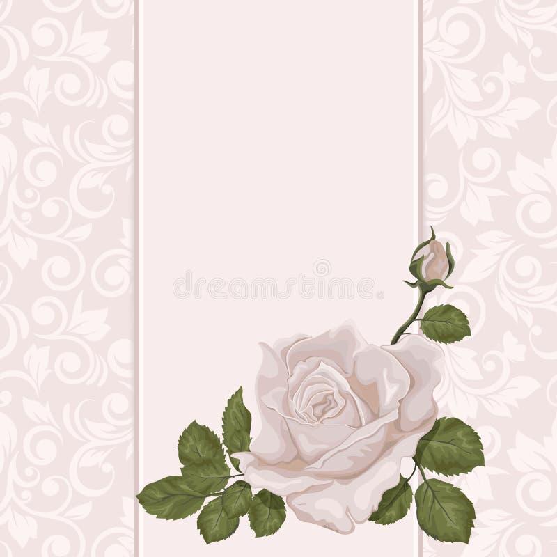 Bloemen achtergrond De huwelijkskaart of de uitnodiging met nam op pastelkleur toe royalty-vrije illustratie