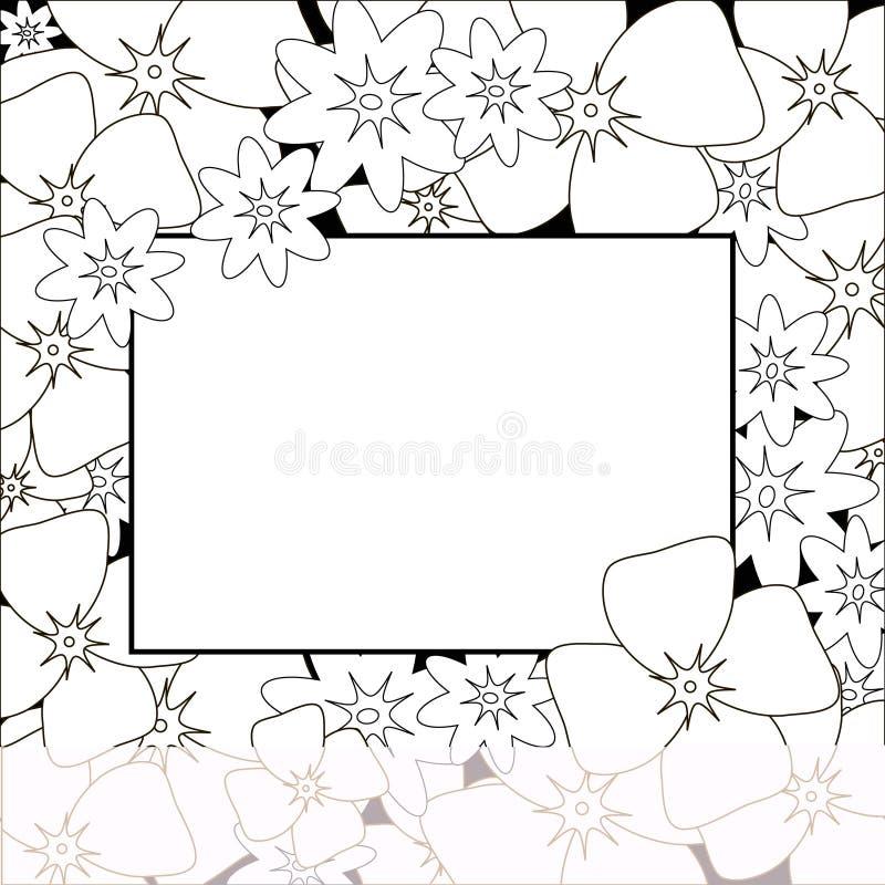 Bloemen achtergrond De uitstekende dekking van het bloemboeket Bloei kaart met exemplaarruimte zwart-witte uitnodiging vector illustratie