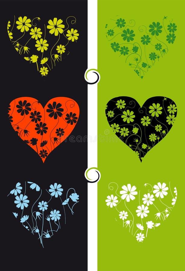 Bloemen achtergrond, hart stock illustratie
