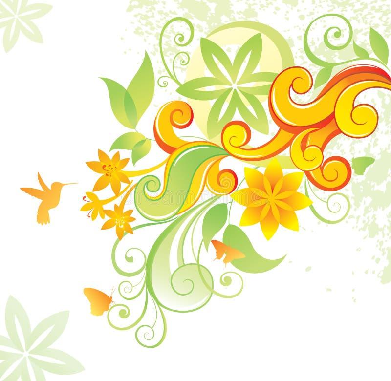 Bloemen achtergrond met colibri en vlinder. royalty-vrije illustratie