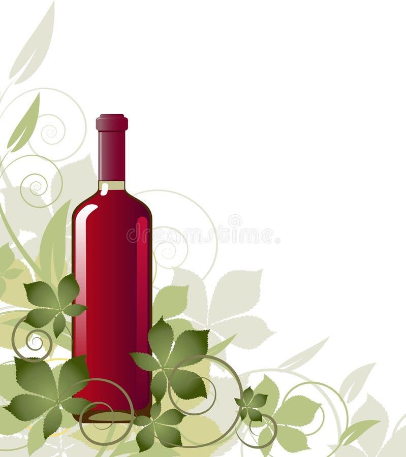 Bloemen achtergrond met een fles wijn royalty-vrije illustratie