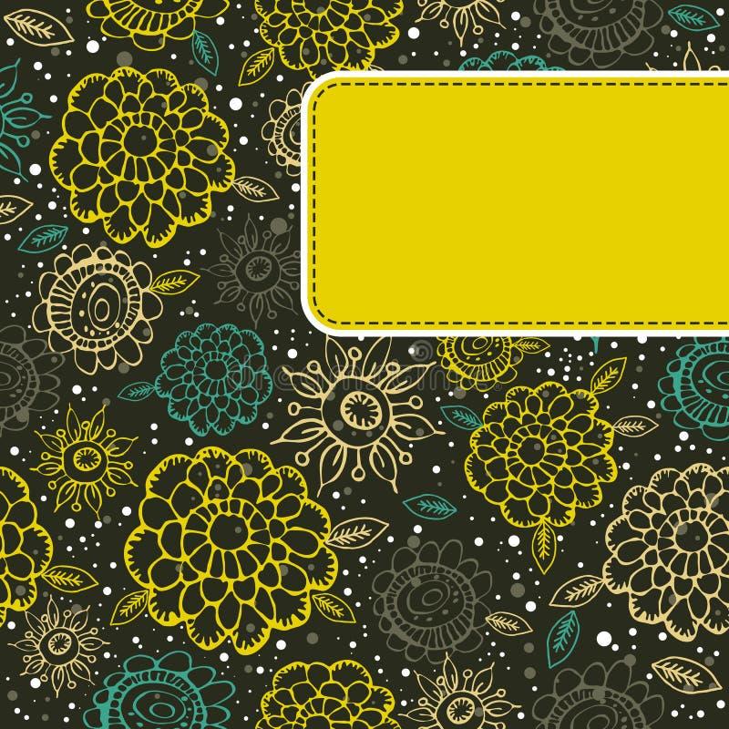 Bloemen achtergrond met geel etiket royalty-vrije illustratie