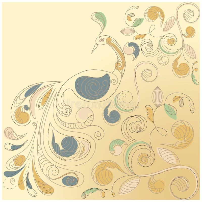 Bloemen achtergrond met pauw royalty-vrije illustratie