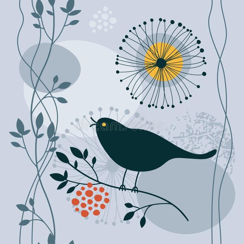 Bloemen achtergrond met vogel royalty-vrije illustratie