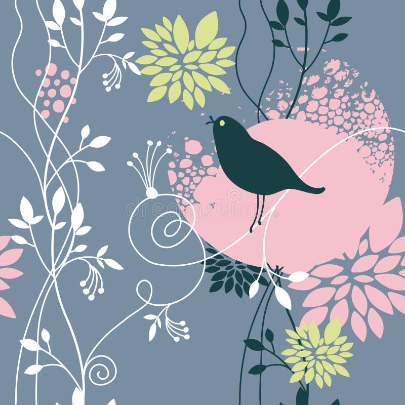 Bloemen achtergrond met vogel vector illustratie