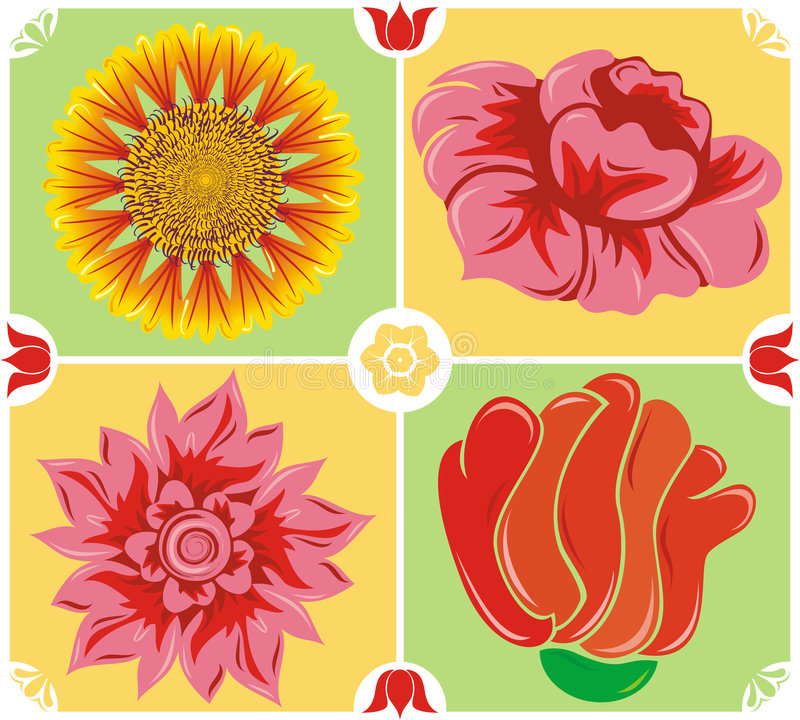 Bloemen achtergrond, pictogramreeks, vector vector illustratie