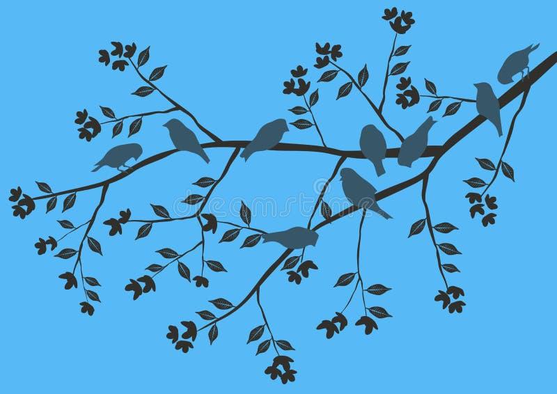Bloemen Achtergrond, vogels stock illustratie