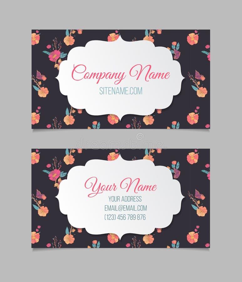 Bloemen adreskaartje royalty-vrije illustratie
