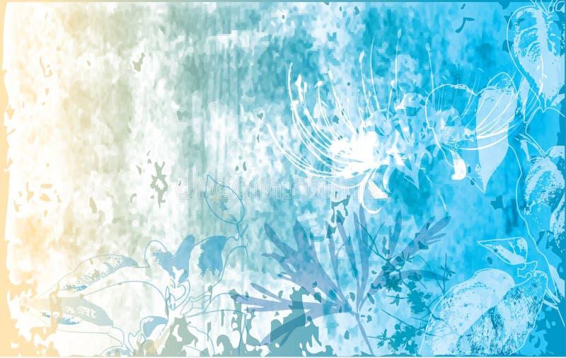 Bloemen & grunge achtergrond royalty-vrije illustratie