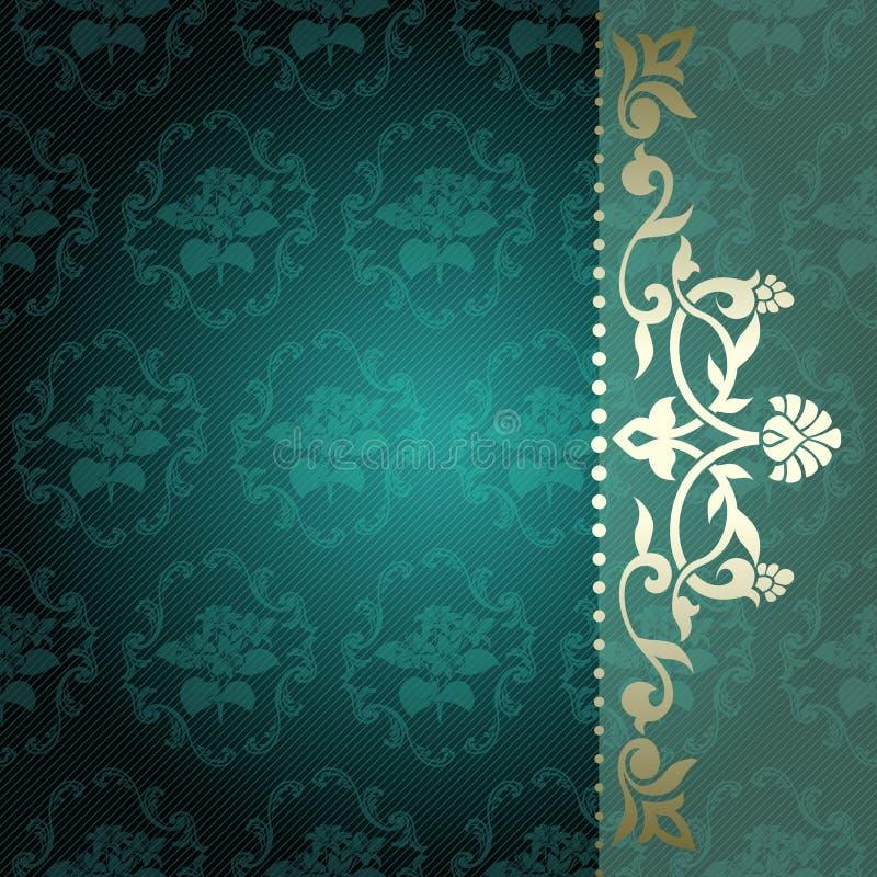 Bloemen arabesqueachtergrond in groen en gouden stock illustratie