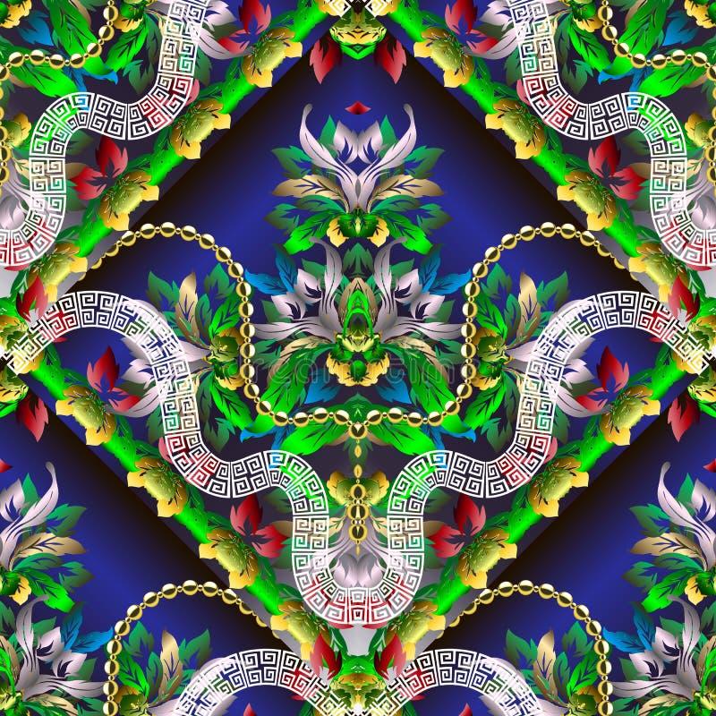 Bloemen Barok stijl kleurrijk blad naadloos patroon Vector sier geometrische achtergrond Uitstekende kaders Griekse zeer belangri stock illustratie