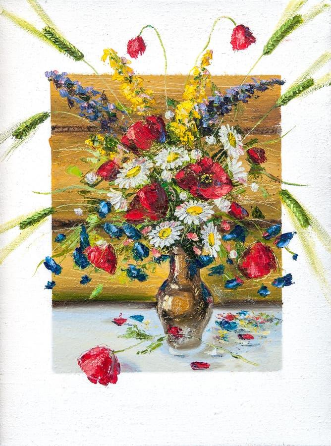 Bloemen, beeldolieverven op een canvas royalty-vrije stock afbeeldingen