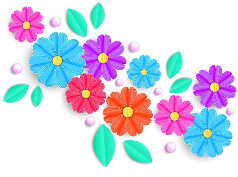 Bloemen, bladeren en parels vector illustratie