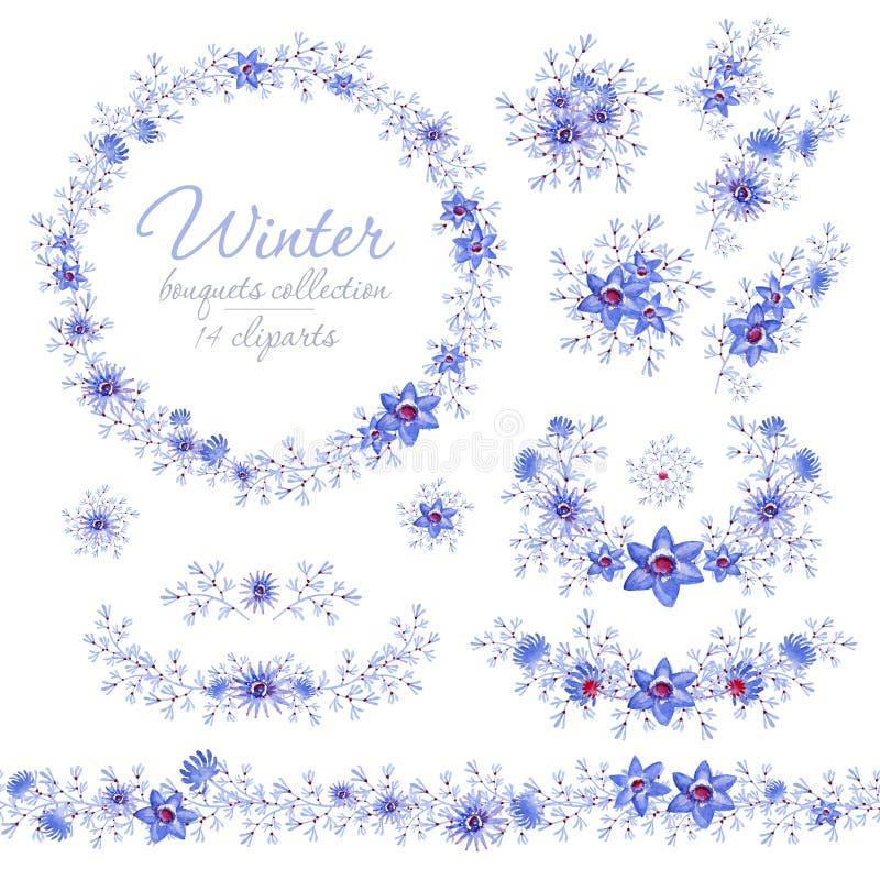 Bloemen blauwe de winterboeketten, ring en riem Cliparts voor huwelijksontwerp, artistieke verwezenlijking stock foto's