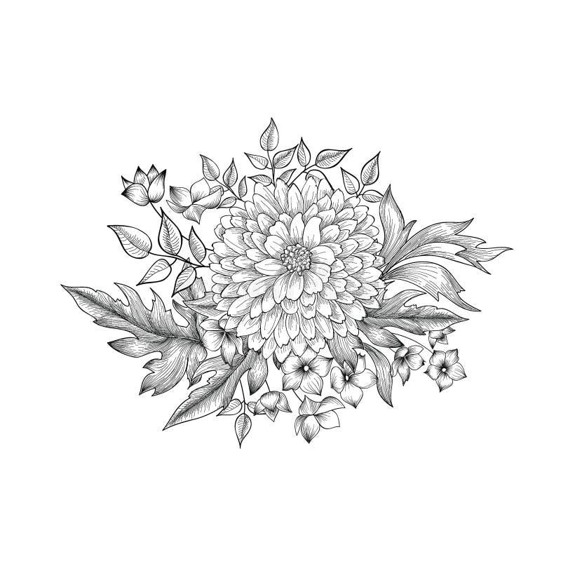 Bloemen boeket Bloem die retro ontwerp van de groetkaart graveren stock illustratie