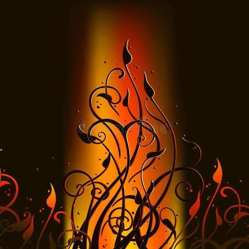 Bloemen brandachtergrond royalty-vrije illustratie