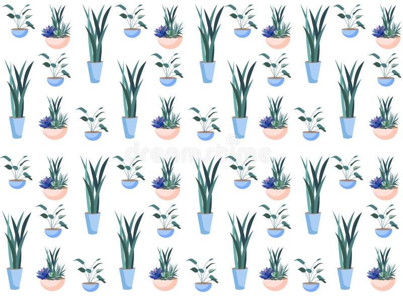 Bloemen in Ceramisch Potten Botanisch Naadloos Patroon royalty-vrije illustratie