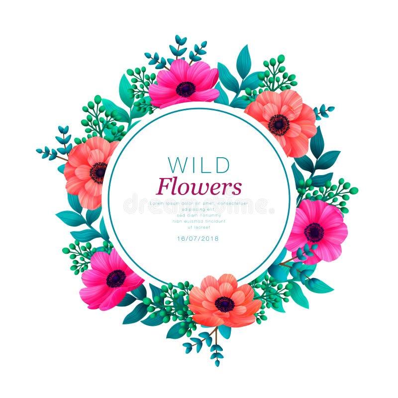 Bloemen cirkelframe Tropisch bloemen in malplaatje De zomerontwerp met mooie bloemen en bladeren met exemplaarruimte royalty-vrije illustratie