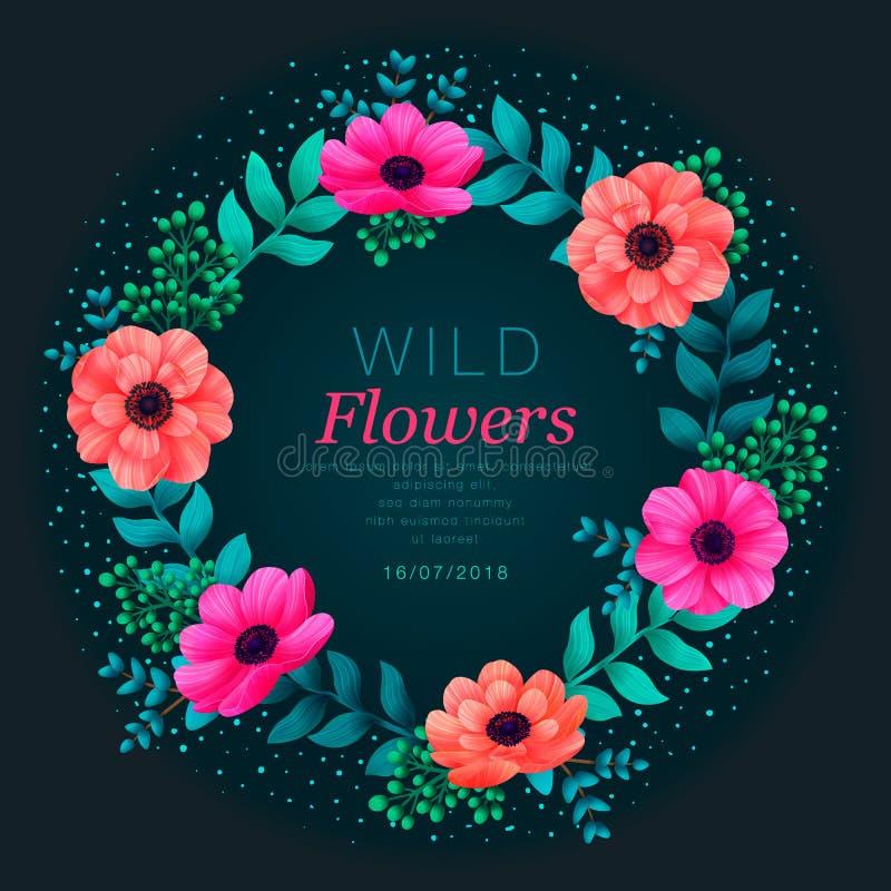 Bloemen cirkelframe Tropisch bloemen in malplaatje De zomerontwerp met mooie neonbloemen en bladeren met exemplaar royalty-vrije illustratie