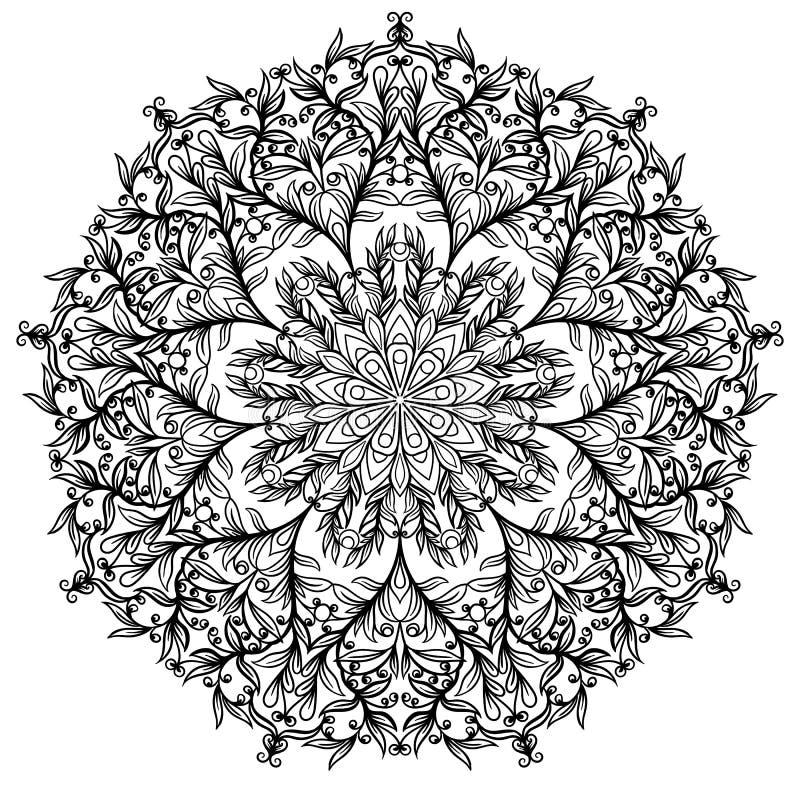 Bloemen cirkelornament, zwart-witte tekening, krabbelkleuring royalty-vrije illustratie