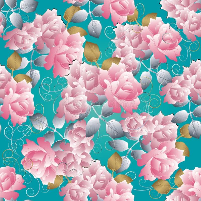 Bloemen 3d rozen naadloos patroon Vector blauwe achtergrond rozen royalty-vrije illustratie