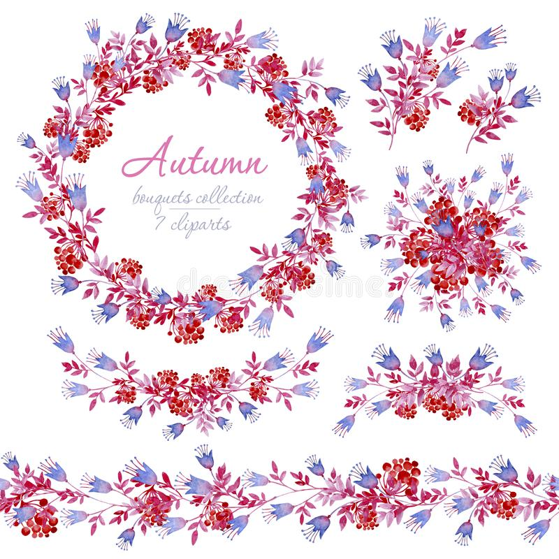Bloemen de herfst blauwe, roze en rode boeketten met bossen van Lijsterbes Cliparts voor huwelijksontwerp, artistieke verwezenlij stock foto's