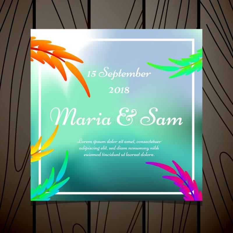 Bloemen de kaartmalplaatje van de huwelijksuitnodiging met het ontwerp vectorillustratie van waterverfbladeren royalty-vrije illustratie