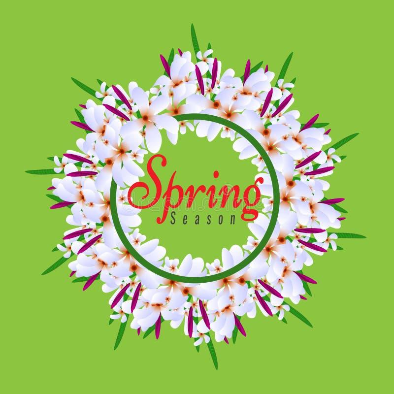 Bloemen de Lente Grafisch Ontwerp om cirkelgrens met Kleurrijke bloemen royalty-vrije illustratie