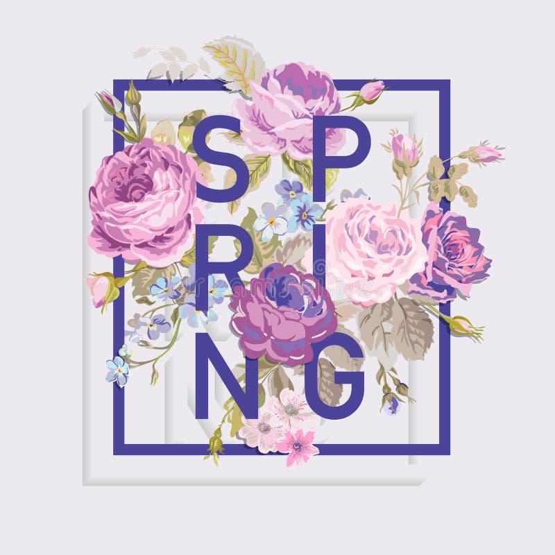 Bloemen de Lente Grafisch Ontwerp voor t-shirt stock illustratie