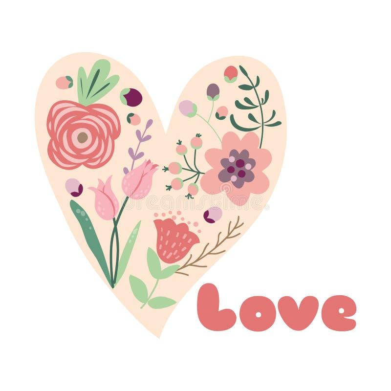Bloemen de liefdeconcept van het bloemhart voor Bloemen het hart Vectorhand getrokken element van de Valentijnskaartendag royalty-vrije illustratie