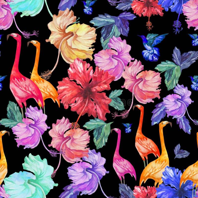 Bloemen, de palm en de vogels van de patroon de Naadloze waterverf tropische stock illustratie