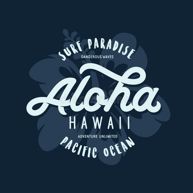 Bloemen de t-shirtdruk van Alohahawaï Vector uitstekende illustratie vector illustratie