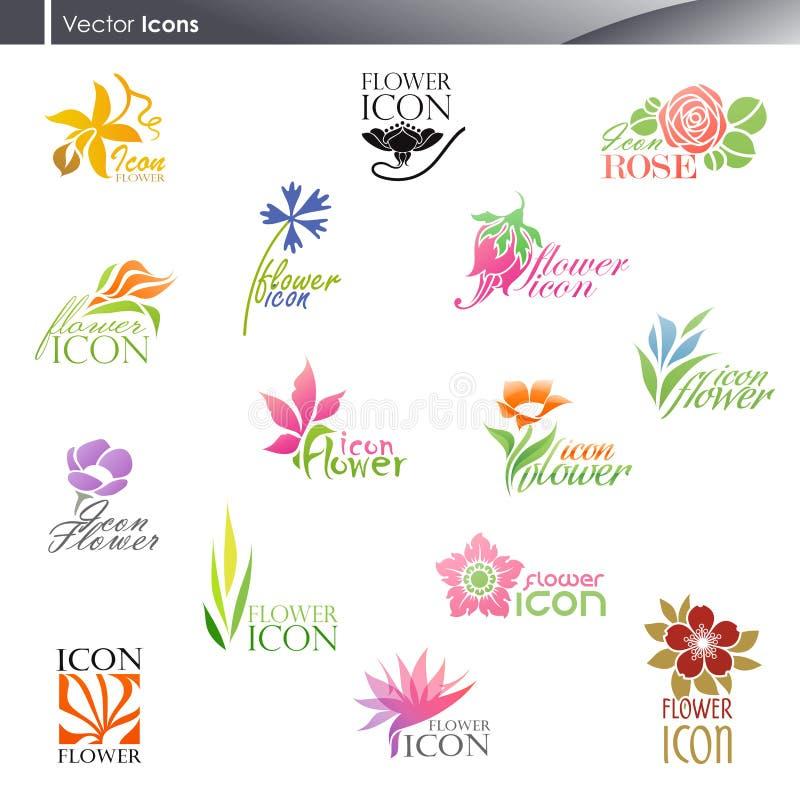 Bloemen. De vector reeks van het embleemmalplaatje. vector illustratie