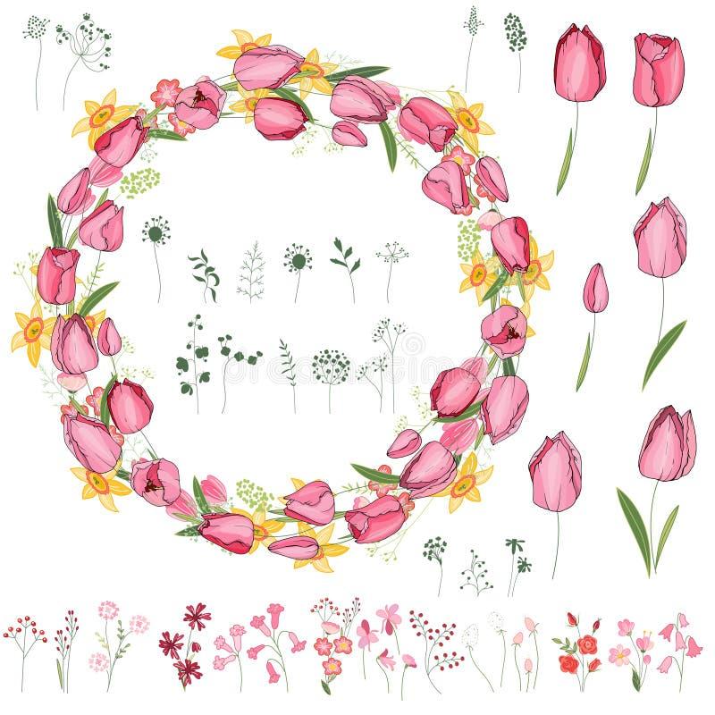 Bloemen de zomerelementen met leuke bossen van tulpen, gele narcissen stock illustratie