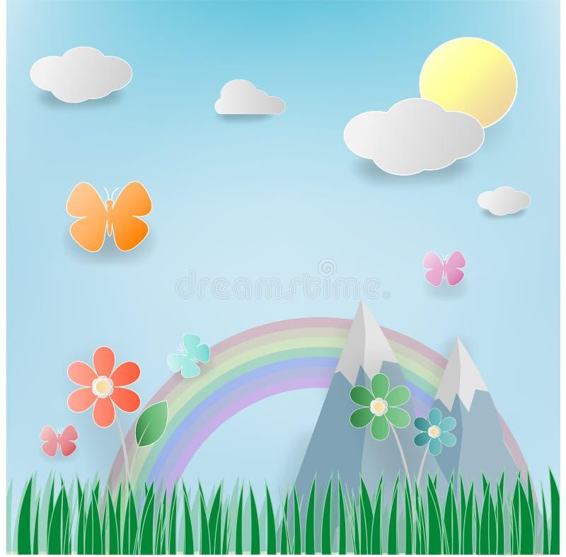 Bloemen de zomerweide met bloemen, zon, cloundpaper art. vector illustratie