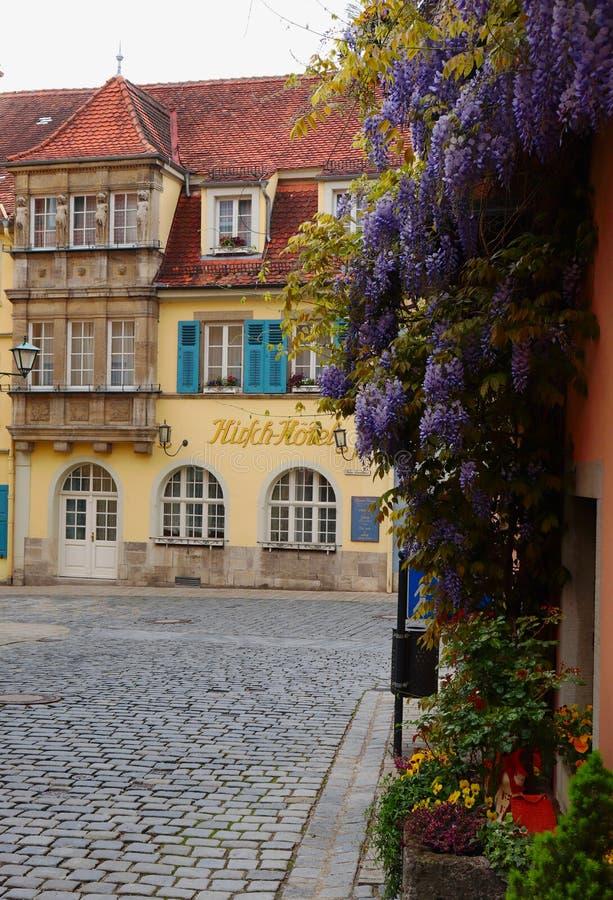 Bloemen die op een gebouw in Rothenburg ob der Tauber, Germanu groeien royalty-vrije stock foto