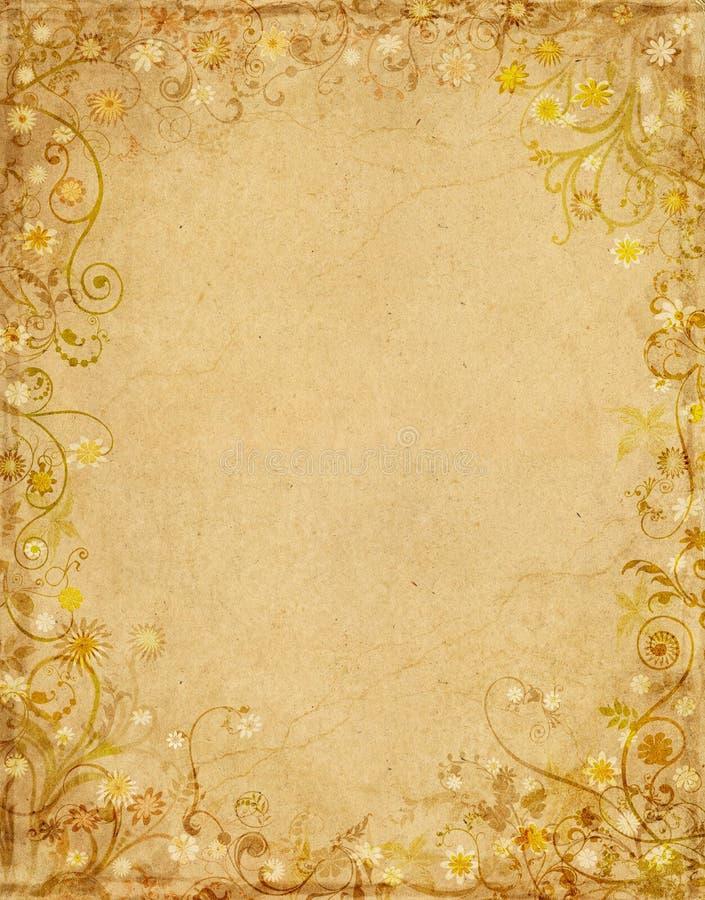 Bloemen Document Grunge stock illustratie