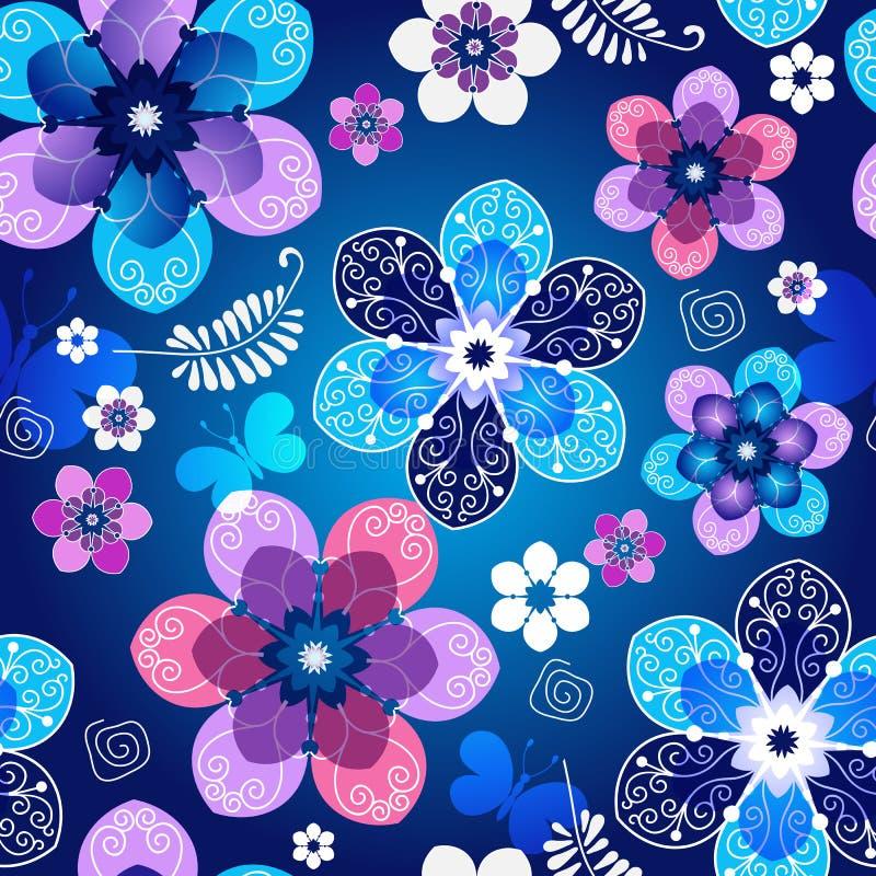 Bloemen donkerblauw naadloos de lentepatroon stock illustratie