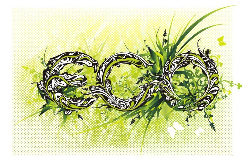 Bloemen eco '' van het lettersoortontwerp '' stock illustratie