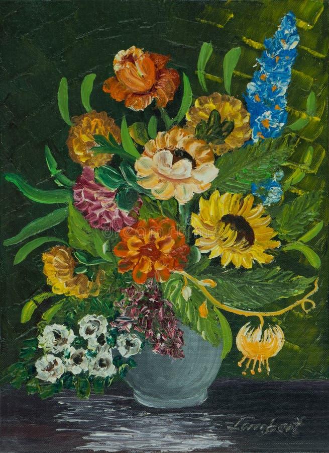 Bloemen in een grijze vaas tegen een groene achtergrond stock illustratie